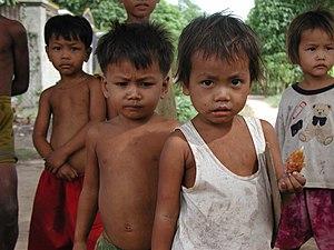 Khmer children outside the Khmer Literacy School.