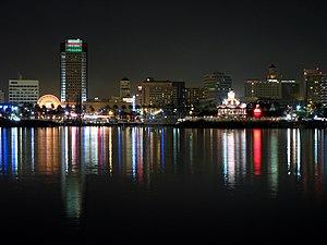 English: Downtown Long Beach, California at ni...