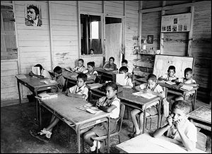 Cuban schoolchildren in a classroom in the pro...