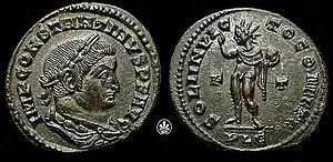 Coin of Roman Emperor Constantine I depicting Sol Invictus/Apollo with the legend SOLI INVICTO COMITI, c. 315.