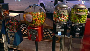 Gumball machines in a Diner at Dallas, Texas, ...