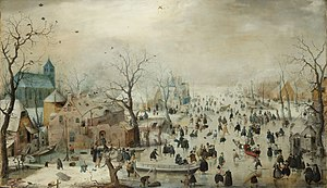Winter landscape with iceskaters, c. 1608, Hen...