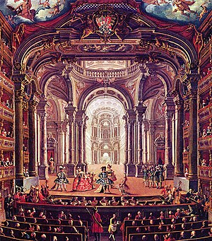 The Teatro Regio in Turin, oil on canvas