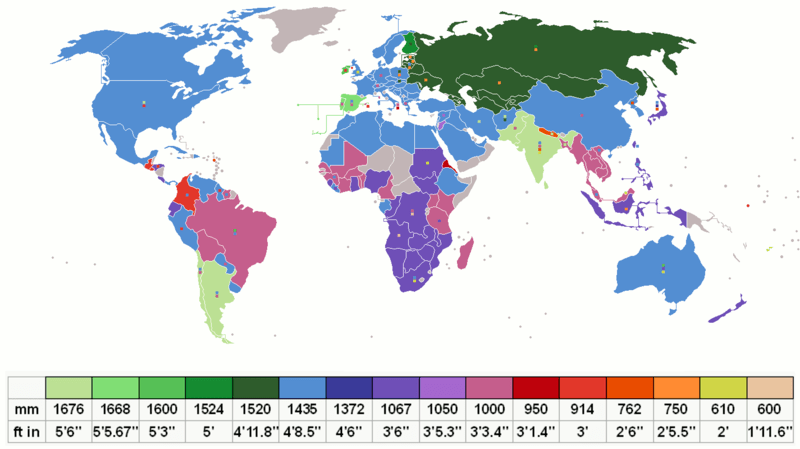 Map showing rail gauges in use around the world