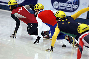 English: Photo of 500 metres short track heat ...