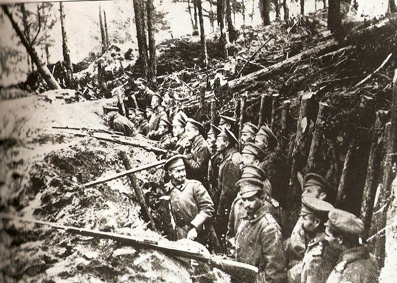 Russian forest trench at the Battle of Sarikamish.