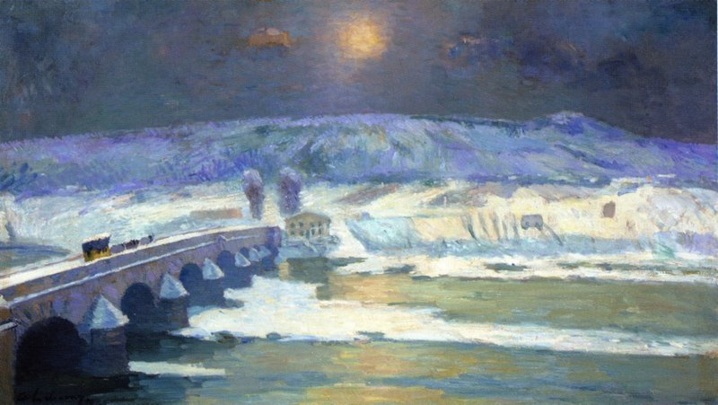 Fichier:The Bridge over the Allier at Pont-du-Chateau in Winter 1886 Albert Lebourg.jpg
