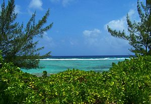 English: View of Caribbean Ocean from Bodden T...