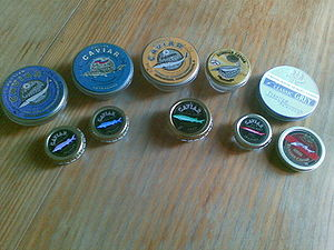 English: 10 Caviar tins (Russian and Iranian):...