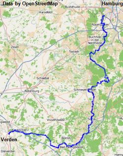Karte des Wanderweges