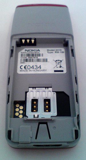 Colour photo showing Nokia 2310 mobile phone b...
