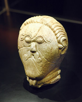 Stone sculpture of Celtic hero, from the sanct...