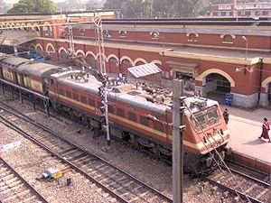 English: A rajdhani express leaving KGP statio...