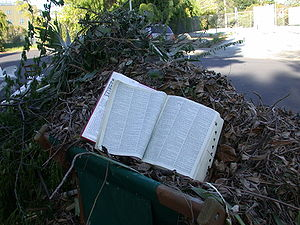 A discarded dictionary sits open on a pile of ...
