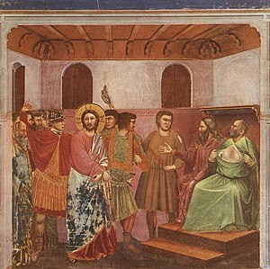 Giotto's depiction of Jesus before Caiaphas in...
