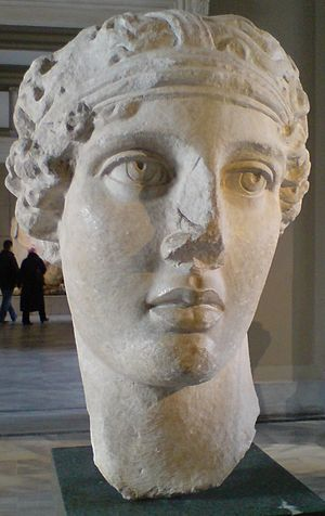 Head of the poetess Sappho, Smyrna, Marble cop...