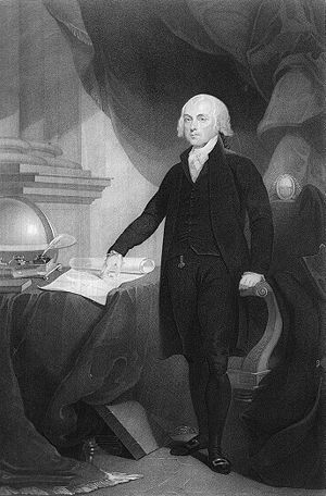 stippling engraving of James Madison, Presiden...