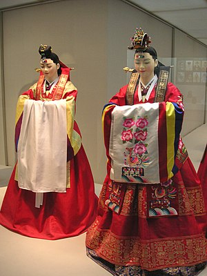 A display of models wearing hwarot, Korean tra...