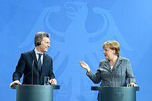 Merkel meets with Argentine President Mauricio Macri in Berlin in 2016.