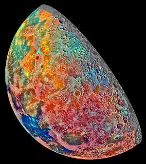 False-color image of the Moon taken by the Gal...