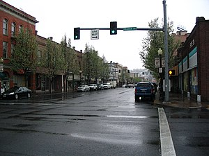 View north along Main Street in downtown Pendl...