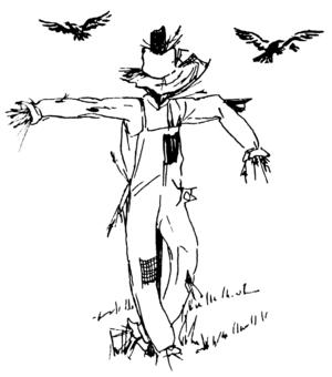 Line art of scarecrow.