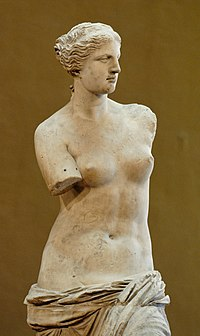 Venus de Milo on display at the  Louvre