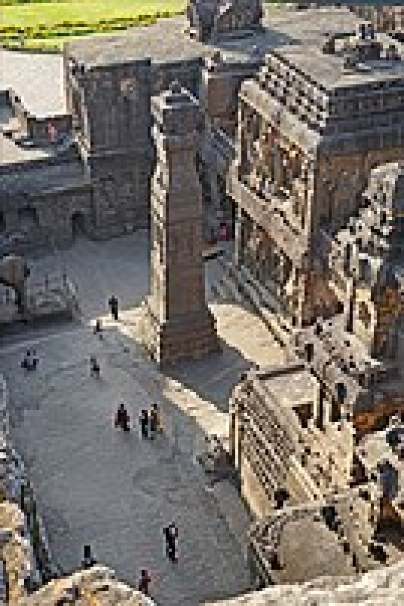 1 view from rocky hill from which Kailasha temple is carved, Ellora Caves India.jpg