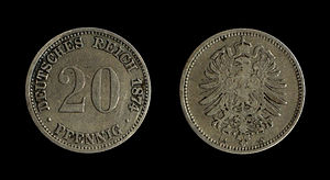 Coins of the German Empire (1871-1918), 20 Pfe...
