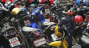 Parked motorcycles in Bangkok Thailand