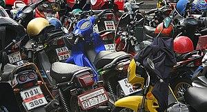 Parked motorcycles in Bangkok Thailand