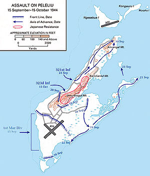 Attack map for Peleliu island.