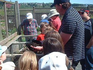 Community compost educator with students Categ...