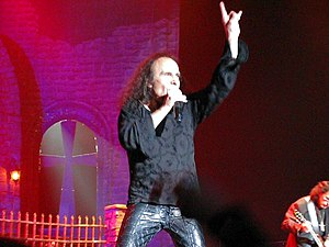 "Ronnie Dio waving ""sign of the horns&quot..."