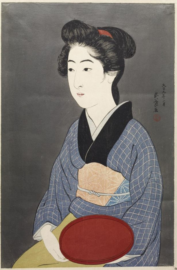 """Waitress with a Red Tray"" by Goyō Hashiguchi"