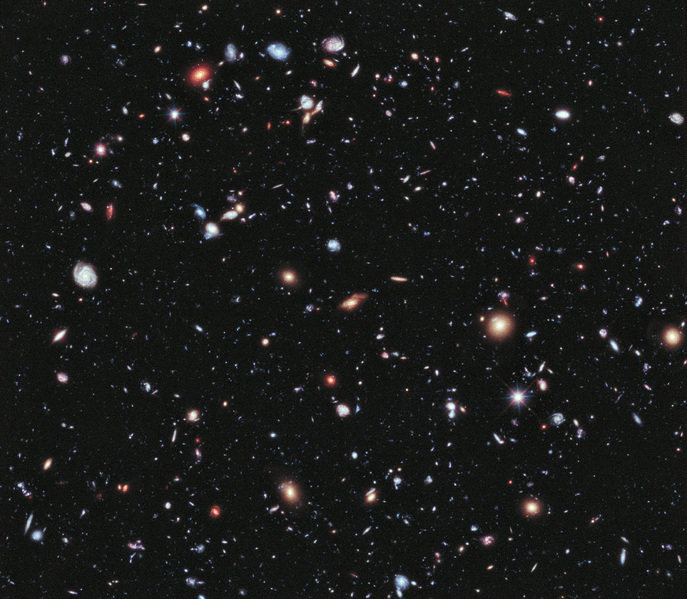 Galaxies spread across the darkness of space,