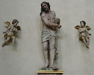 Deutsch: Darstellung des Jesus mit zwei Engeln.