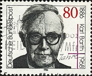German stamp, showing Karl Barth. Deutsch: Deu...