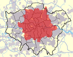 London postal district shown (in red) against ...