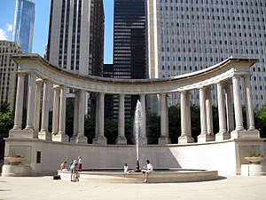 The Millennium Monument in Wrigley Square in M...