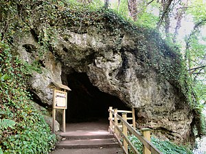 The entrance to the cave in Knaresborough in w...