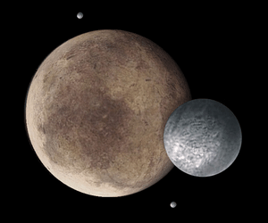 Artist rendering of dwarf planet Pluto and its...