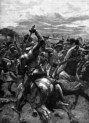 English: Richard III at the Battle of Bosworth...