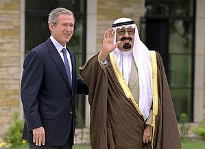 King Abdullah of Saudi Arabia with George W. B...