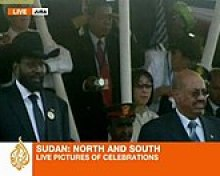 Omar al-Bashir (R), the president of Sudan, watches a ceremony celebrating the birth of South Sudan with Salva Kiir Mayardit, the former commander of the rebels who fought Bashir and now the president of the world's newest nation.