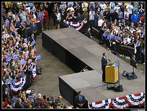 English: Barack Obama speaks at Xcel Energy Ce...