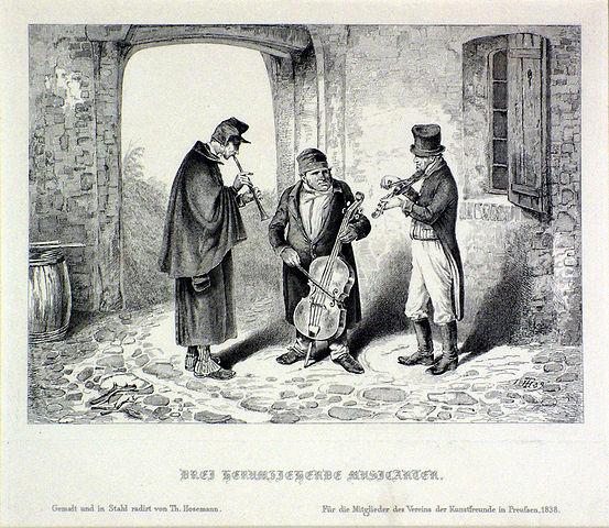 """Theodor Hosemann: """"Drei Herumziehende Musikanten"""" (1838)"""