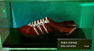 Emil Zatopek running shoes by Adidas. 1948.