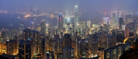 A spectacular panorama of the Hong Kong Skyline from Wikipedia.
