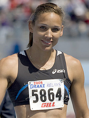 Lolo Jones after winning the women's invitatio...